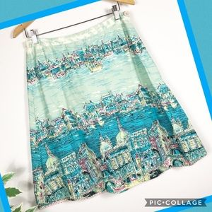 Anthropology elevenses Venice Postcard Skirt Sz 8